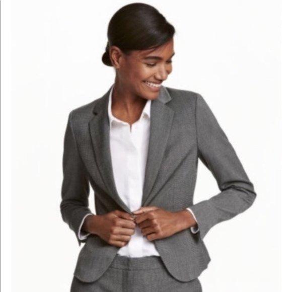 H&M Dark Grey Modern Classic One Button Blazer 4